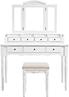 VASAGLE Vanity Set, Tri-Folding Necklace Hooked Mirror, 7 Drawers, 6 Organizers Makeup Dressing Table with Cushioned Stool Easy Assembly, for Women White