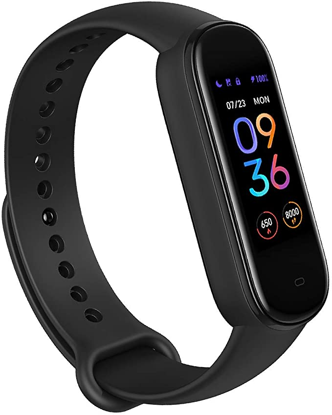 Amazfit Band 5 Fitness Tracker with Alexa Built-in, 15-Day Battery Life, Blood Oxygen, Heart Rate, Sleep Monitoring, Women's Health Tracking, Music Control, Water Resistant, Black (Model: S2005OV1N)