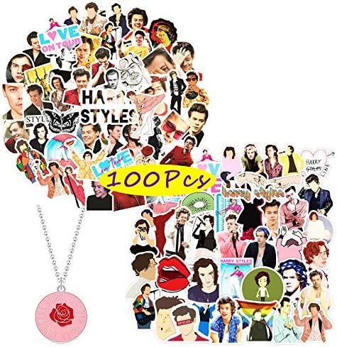 with Harry Styles Button Pin and Paper Airplane Necklace .Popular English Singer Decals for Laptop Snowboard Bicycle Kilmila Harry Edward Styles Stickers 50Pcs