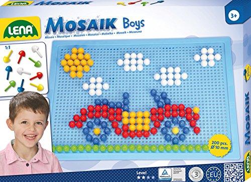 Lena 35612 - Mosaik Steckspiel Set Boys, mit 200 farbigen Mosaikstecker je 10mm und blauer Stiftplatte 28 x 19,5 cm, Steckmosaik für Kinder ab 3 Jahre, mit Steckvorlagen Tiere, Blumen und Fahrzeuge