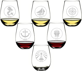 SET OF 6 -Stemless Wine Glasses-Nautical Themed, Resturant Quility Plastic, 14oz, Best Shatter Proof Drinking Glass for Wine, Cocktails or gifts