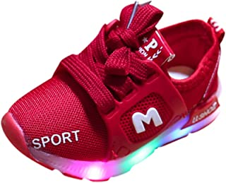 WARMSHOP Kids Light Up Sneakers 1-6T Boys Girls Colorful Soft Sole Breathable Air Mesh Lace-Up Luminous Outdoor Sport Shoes