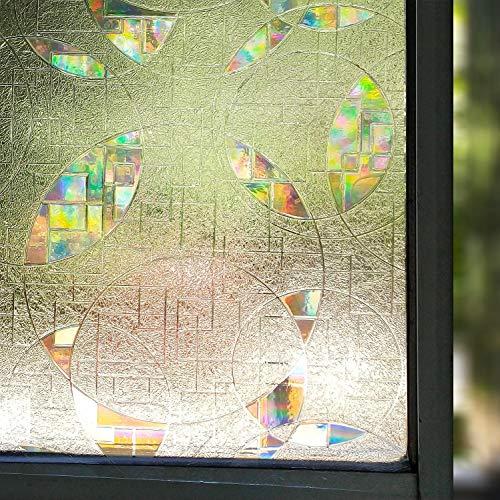 LMKJ Etiqueta engomada de Cristal autoadhesiva del Efecto del Arco Iris Redondo Transparente 3D Etiqueta engomada electrostática película de la Ventana A48 60x200cm