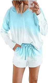 Sponsored Ad - ROSKIKI Womens Tie Dye Printed Pajamas Set Short Sleeve Tee and Pants PJ Set Loungewear Nightwear Sleepwear