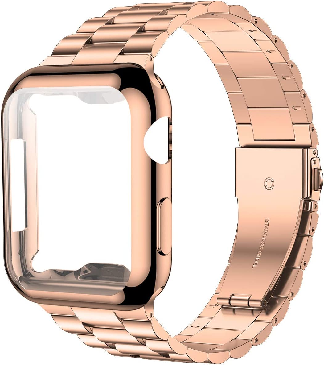 iiteeology Compatible with Apple Watch Band 44mm SE/Series 6 5 4, Upgraded Stainless Steel Link Replacement Band with iWatch Screen Protector Case Rose Gold