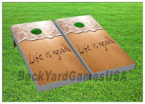 Life is Good CORNHOLE BEANBAG TOSS GAME w Bags Game Board Beach Ocean Set 709