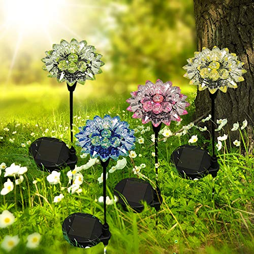 Solar-Gartenleuchte Blume 4er-Set LED farbwechselnd Gartenstecker Dekoration für Balkon Garten Terrasse (4 er Set)
