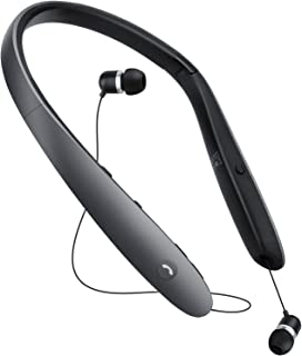 Bluetooth Headphones,Retractable Earbuds Neckband Foldable,Neck Wireless Bluetooth Headset Sweatproof Sports Noise Cancelling Microphone HD Stereo,Voice Command Assistant-Titanium Black