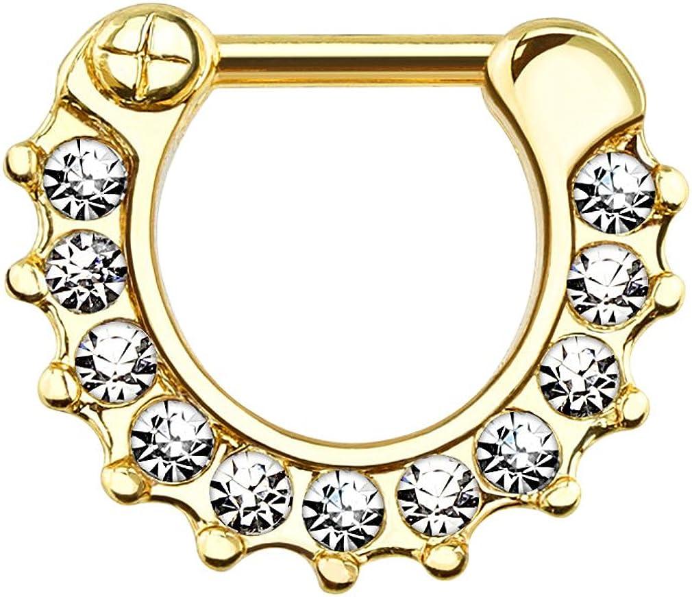 Urban Body Jewelry 14G PVD Gold Stainless Steel CZ Rim Septum Clicker