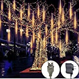 Meteor Shower Rain Lights, 8 Tube 144 LEDs Outdoor Christmas String Light, Plug Powered Waterproof Snow Falling Raindrop Icicle Cascading Decoration Lights for Party Garden Home (Warm White)