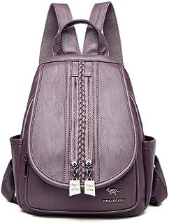 Backpack,New Weaving Double Zipper Women Backpack Female Leather Backpack Ladies Luxury Travel Shoulder Bag School Bags,Purple,MultipurposeDurable