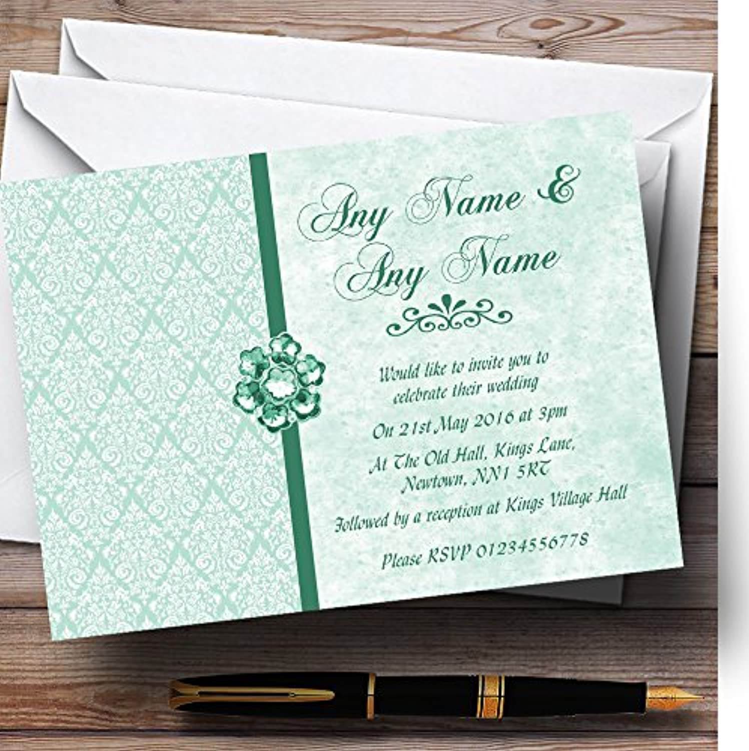 Pale Mint Green Vintage Damask Jewel Personalised Evening Reception Invitations   Invites & Envelopes