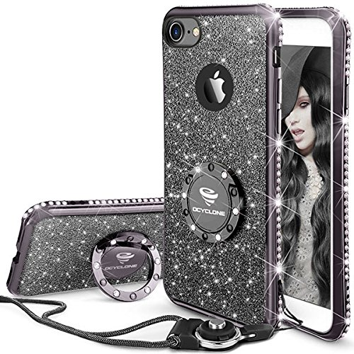 Fundas Movil iPhone 7/iPhone 8,Purpurina Fundas Carcasa con Anillo para Mujer,Ultra Slim Soft TPU Fundas Movil con Glitter Brillante Anillo Bumper Apple iPhone 7,iPhone 8 para Mujer,Negra