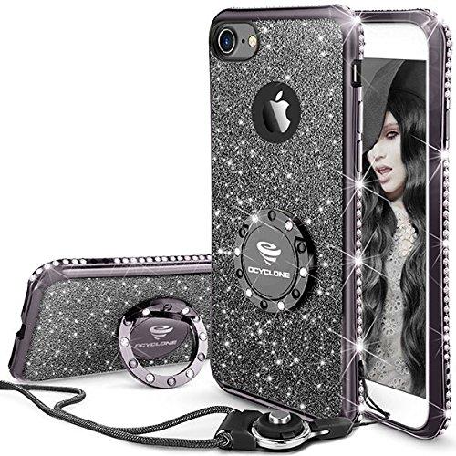 Fundas Movil iPhone 7/iPhone 8,Purpurina Fundas Carcasa con Anillo para...