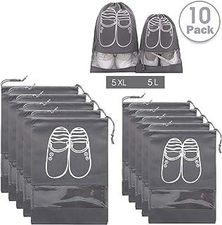 10 Piezas Bolsas de Zapatos,AMAYGA Multifunción a Prueba de Polvo para Viajes,Bolsa Impermeable Telas no Tejidas Zapatos de Viaje Bolsa de Acabado con Ventana Transparente
