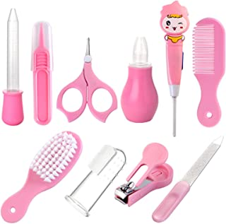 Baby Grooming Kit, Baby Care Items, Baby Care Essentials Set, Baby Supplies Set, 8PCS Baby Health Care Set Portable Baby Care Kit, Safety Cutter Baby Nail Kit for Newborn, Infant & Toddler(Pink)