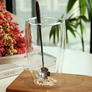 WU-Mug Doble Anti-Hierro Vidrio Resistente al Calor Taza Taza de té de