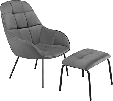 VECELO Lounge Sofa Chair&Ottoman with Premium Cotton Pad and Stainless Steel Frame, Grey