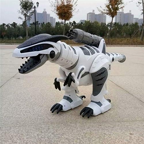 SJHFDICKJFIF Intelligente Dinosaurier Robot Spielzeug,Kinderspielzeug,Programmierung Tanzen Musik Reagiert Auf Berührungen,mit Sound Und Gehfunktion,Weiß