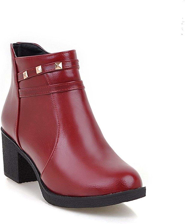 Lucksender Womens Round Toe Side Zip Rivet Chunky Heel Short Boots