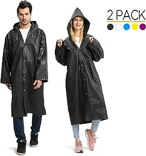 Portable EVA Raincoats for Adults, Reusable Rain Ponchos with Hoods and Sleeves..