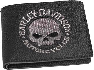 c614363fd2bb Harley-Davidson Mens Willie G Skull Embroidered Black Leather Billfold  Wallet