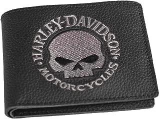 Willie G Skull Embroidered Black Leather Billfold Wallet
