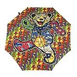 Psychedelic Grate-Ful Dead Bear Windproof Automatic Retractable Folding Lightweight Umbrella Travel Umbrella