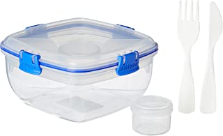 Sistema 1376ZS To Go Salad with Dressing Pot and Cutlery, 1 L - Clear/ Dark Blue