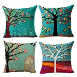 Set of 4 Hangood Cotton Linen Cushion Covers