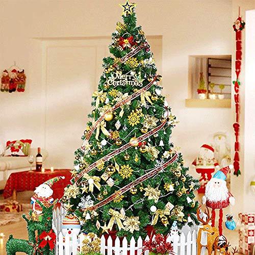 WLHER Künstlicher Weihnachtsbaum, Unechter Tannenbaum Inkl. Metall Christbaumständer, Schleifenband Dekoration, Perfekte Weihnachtsdekoration,2.1m high