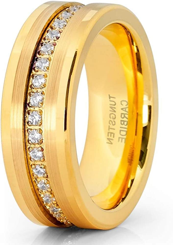 Silly Kings Yellow Gold Tungsten Wedding Band - 8mm - Yellow Gold Ring - Tungsten Ring