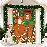 Gingerbread Photo Booth Prop Banner, Large Fabric Face in Hole Photo Stand-in Gingerbread Cutout Banner Background for Holiday and Winter Christmas Indoor and Outdoor Party Decorations and Supplies