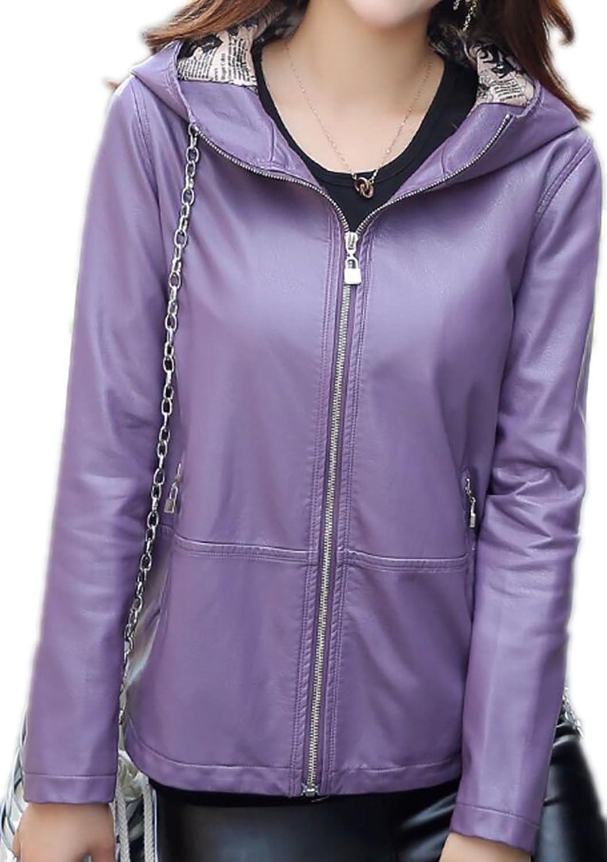WAYAWomen Basic PU Hooded Slim Full Zipper Faux Leather Jacket