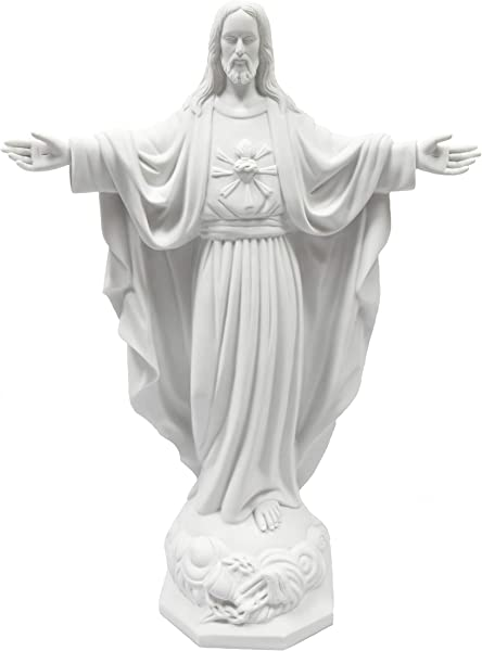 24 Blessing Sacred Heart Of Jesus Christ White Statue Sculpture Indoor Outdoor Garden Grotto Made In Italy