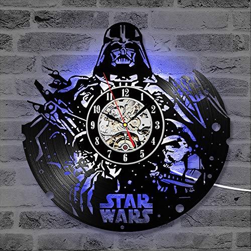 Cheemy Joint Star Wars Horloge Murale 12 Pouces LED Disque Vinyle, Art intérieur, Cadeau d'anniversaire Cadeau de Noël, Pendentif Nuit créative Nuit 7 Nuit. (A2-1 with LED)