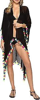 JOXJOZ Women's Chiffon Tassels Summer Beach Cardigan Swimsuit Cover-Ups Swimwear Beachwear