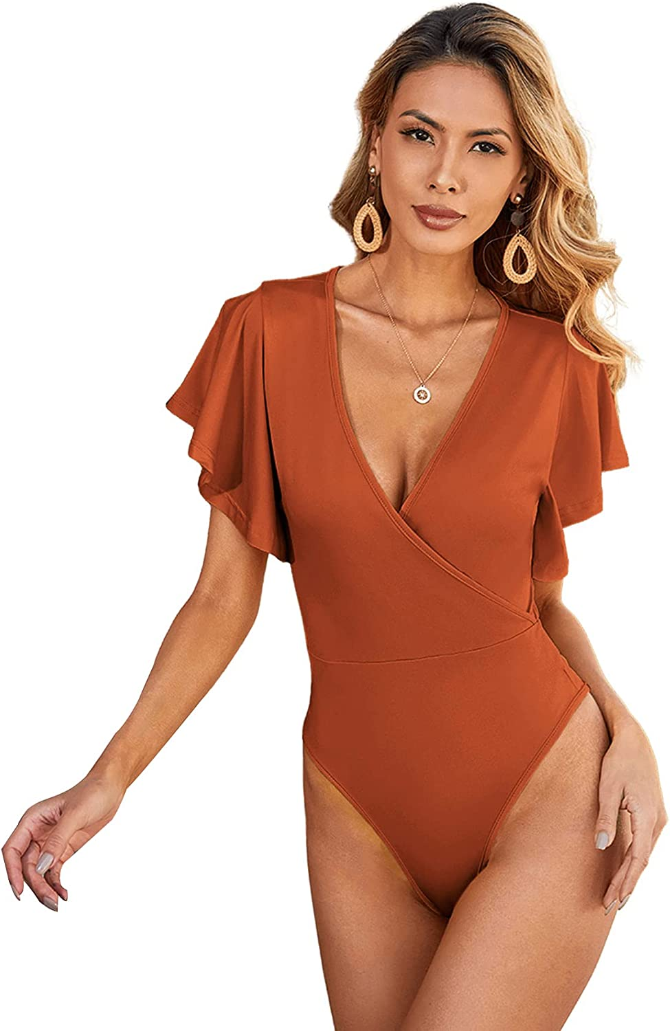 Milumia Women's Wrap Deep V Neck Ruffle Butterfly Sleeve Solid Bodysuit Top