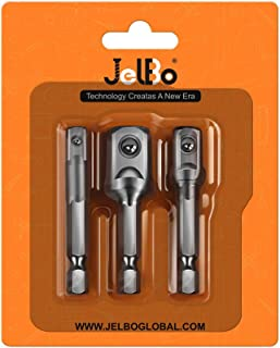 Juego de adaptadores de llaves de vaso cuadradas, vástago hexagonal de 1/4 pulgadas, adaptador de llave de impacto, brocas de extensión CR-V (3 unidades/juego: 1/4 pulgadas, 3/8 pulgadas, 1/2 pulgada)