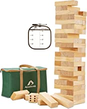ApudArmis Giant Tumble Tower, 54 PCS Pine Wooden Stacking Timber Game with 1 Dice Set - Classic Block Board Game for Kids ...