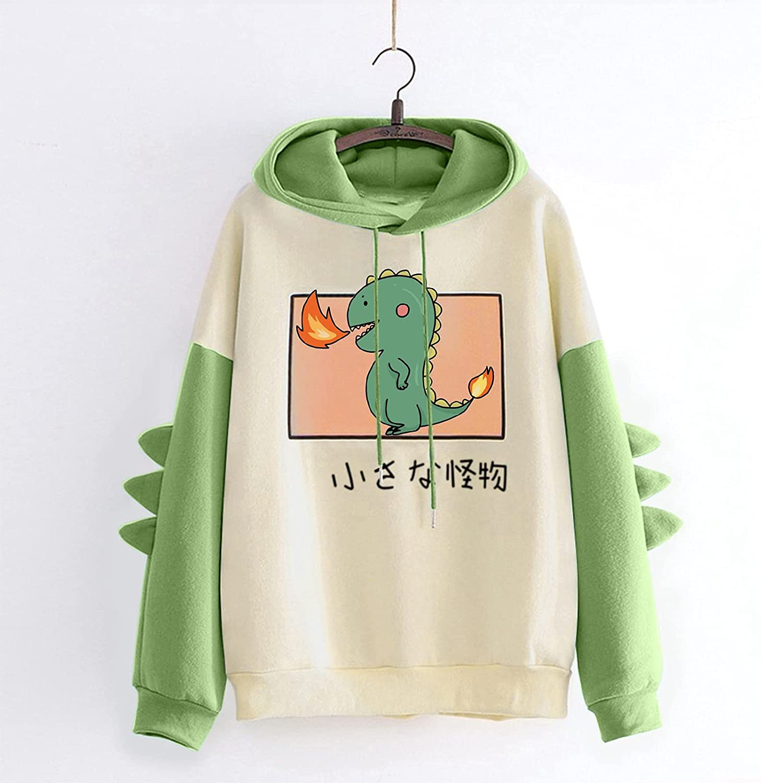 Fashion Hooded Sweatshirt Women Teen Girls Casual Print Long Sleeve Pullover Cartoon Dinosaur Stitching Tops