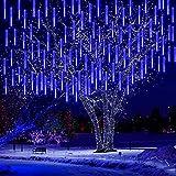 Kwaiffeo Falling Rain Lights, Christmas Lights Outdoor Meteor Shower Lights 12 inch 8 Tube Rain Falling Icicle Cascading Lights for Xmas Tree Halloween Decoration Wedding Party, UL Plug Blue