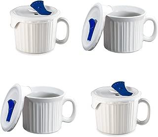 CorningWare Pop-Ins 20-ounce Mug w/ Blue Vented Plastic Cover, White (Pack of 4)