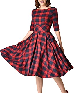 Women's 1950's Retro Plaid Tartan Tunic Puffy Swing Dress with Casual Side Pockets