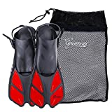 Seavenger Torpedo Swim Fins | Travel Size | Snorkeling Flippers with Mesh Bag for Women, Men and Kids (Red, XS/XXS)