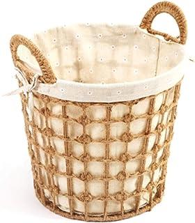 Boîte de Rangement Rotin, Bac de Rangement, Panier d'entraves en osier naturel, tissu de draps en coton vêtement salé lava...