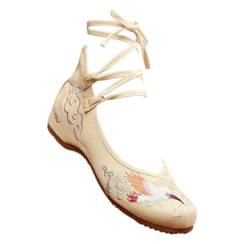 [XFentech] レディースビンテージ刺繍入り靴 - カジュアルな快適な中国靴