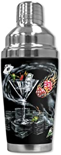 """Mugzie 916-SHA """"Michael Godard: Strike it Rich"""" Cocktail Shaker with Insulated Wetsuit Cover, 16 oz, Black"""