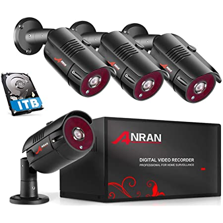 ANRAN 8 Channel 1080P Home Security Camera System 8ch CCTV DVR Recorder with 1TB Hard Drive 4X Full HD 1080P Surveillance Video Bullet Outdoor Cameras IR Night Vision, Motion Alert Easy Remote Access