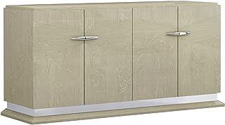 American Eagle Furniture Charlotte Modern 4-Door Dining Room Buffet Cabinet, Light Walnut
